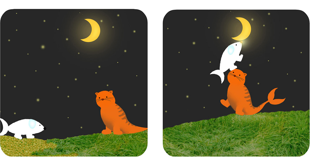 The Fish-dog meets a Cat-fish that helps him to touch the moon with his nose.