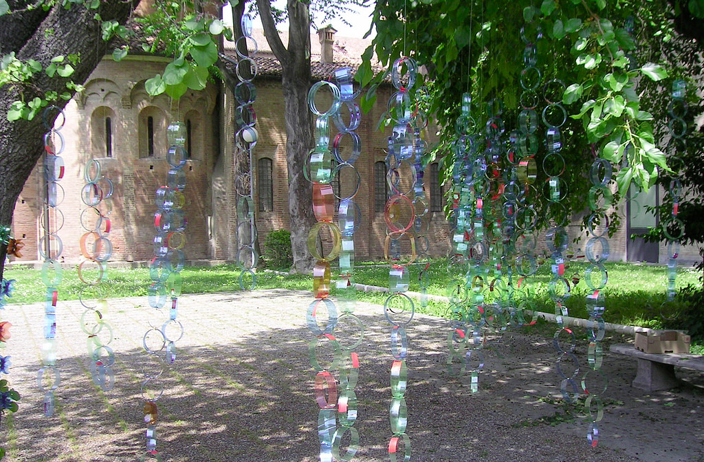 a curtain made of plastic bottles